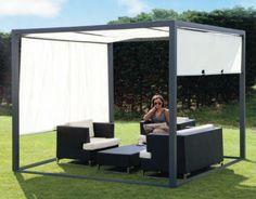 Kant en klare tuinpaviljoen. Schitterende prefab overkapping van staal met verschuifbare zonnedoek. Creeer een lounge plek in uw tuin met dit luxe terraspaviljoen van Gadero. (dit model is niet meer te koop)