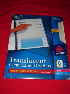 AVERY 16061: 8-TABS INDEX MAKER TRANSLUCENT CLEAR LABEL DIVIDERS #AveryDennison #labeldividers