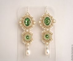 "Купить Серьги из бисера ""Clean"" L - салатовый, beads, beadsmith, earrings, swarovski, handmade, present"