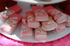 Adorable for a little girls tea party....Strawberry Wafers dipped in chocolate...genius!