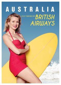 Australia Naomi Watts British Airways Poster 24in x36in