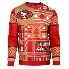 San Francisco 49ers Forever Collectibles KLEW Patches Ugly Sweater Sizes S-XXL w/ Priority Shipping  https://allstarsportsfan.com/product/san-francisco-49ers-forever-collectibles-klew-patches-ugly-sweater-sizes-s-xxl-w-priority-shipping/  Officially Licensed Woven Graphics Throughout Rib Knit Collar, Cuffs and Waist