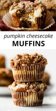 Stuff these deliciously spiced and soft pumpkin muffins with cream cheese cheesecake filling and top with buttery brown sugar crumb cake topping. You'll never crave another pumpkin muffin recipe again! sallysbakingaddiction.com
