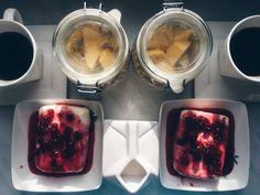 Breakfast: - muesli with youghurt and mango - tvorog with homemade jam - coffee with milk