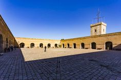 Montjuïc Castle Barcelona Catalonia Spain  www.alamy.com/image-details-popup.asp?ARef=FWCDNB  #barcelona #spain #montjuic #castle #landmark #catalonia #old #fortress #fort #wall #military #historic #spanish #travel #europe #architecture #building #ancient #tower #tourism #view #catalunya #fortification #medieval #attraction #mediterranean #brick #stronghold #historical #history