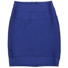 Herve Leger Skirt Blue ($600) ❤ liked on Polyvore