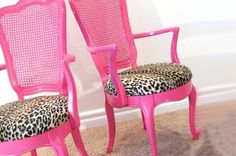 reupholster chairs with leopard and paint red- not pink