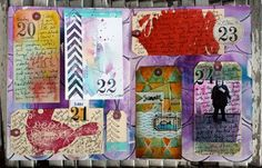 Great way to mark the days in your art journal, give each day it's own tag or scrap paper.