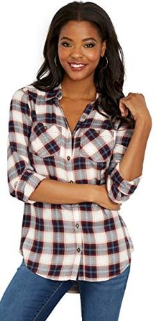 bf44d8da4f228 New maurices Women s Double Pocket Plaid Button Down Shirt. Women fashion  Tops   29