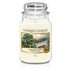 Twinkle Lights, Twinkle Twinkle, Glass Apothecary Jars, Candle Jars, Glass Jars With Lids, Yankee Candle Christmas, Yankee Candles, Wood Wick Candles, Christmas Candles
