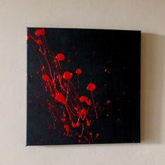 Tableau peinture abstrait contemporain rouge pulsion - Peinture murale contemporaine ...