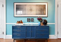 This is the exact vintage dresser that painted yellow for Oliver's changing table :) love it in blue.