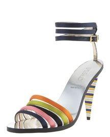 SHOES that make us swoon Fendi Striped Satin Sandal 635 |2013 Fashion High Heels|