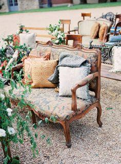antique furniture ceremony seating, Photography by Steve Steinhardt / stevesteinhardt.com/, Event Design by Beth Helmstetter Events / bethhelmstetter.com, Photography by Janis Rietnicks / janisratnieks.com/
