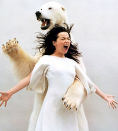 speaking of totems: Bjork and bear!  project: animal totem co-portraits!!! who's with me?