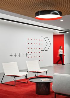 CSG Offices - Chicago - Office Snapshots Office Wall Design, Office Walls, Office Interior Design, Office Decor, Office Designs, Red Office, Cool Office, Orange Office, Red Interiors