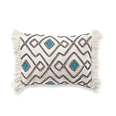 image of Anthology™ Kiran Embroidered Oblong Throw Pillow in Grey
