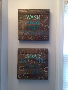 Blue DIY bathroom wall decor.  $10 wood canvas from Walmart, stencils, acrylic paint.