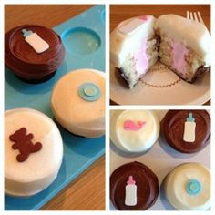 Will it be a he or she? Take a bite and see with Sprinkles Gender Reveal Cupcakes!