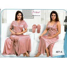 Fashionable Two Part Nighty-4871 A Night Dress Online, Arab Women, Bridesmaid Dresses, Wedding Dresses, Girl Face, Salwar Kameez, Nightwear, Saree, Indian