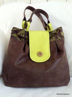 Large faux leather shoulder bag tote handbag by boonestaakjes, $65,00