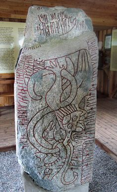 The Sparlösa Runestone, Västergötland, Sweden     This stone was found after a fire in a church in 1684, and promptly split in half for use in repairs to the church – people did not always realise the significance of these runestones. The two halves were removed and reunited in 1937. Much like the Rök runestone, the Sparlösa stone features both the younger and older Futhark runic alphabet. It also depicts images of a ship, various animals and birds, and two men.