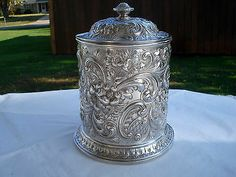 RARE Antique 1886 Howard Co Repousse Sterling Silver Biscuit Box Cookie Jar | eBay