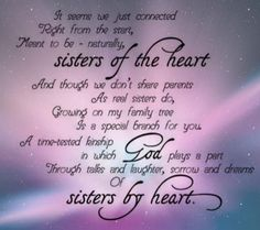 Sisters By Heart, Siblings Day Message for Sisters, Sister Friend Quotes, Sister Poems, Best Friend Poems, Sister Friends, Bff Quotes, Faith Quotes, Adoption Quotes, Qoutes, Special Friends