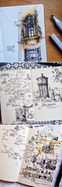 Travel journal illustration moleskine 55 ideas for 2019 Travel Sketchbook, Art Sketchbook, Fashion Sketchbook, Sketchbook Inspiration, Journal Inspiration, Journal Ideas, Travel Inspiration, Design Inspiration, Travel Ideas