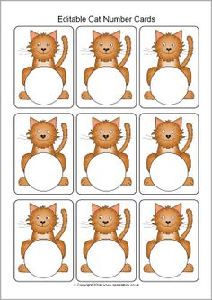 Editable cat number cards template (SB10238) - SparkleBox