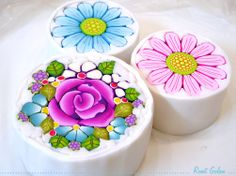Polymer clay Flower canes - in process, by Ronit Golan                                                                                                                                                      More