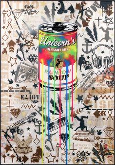 """Eliot - My Superlative Piece Of Art: """"Ich gehöre zu den Urgesteinen der deutschen HipHop Kultur heisst es. Meine Wurzeln sind Graffiti, Comix und Beatbox. Meinen Arbeiten schauen heute aber mehr nach PopArt aus. Technisch ist Stickerei, Siebdruck, Collage und Skulptur mit dazu gekommen."""" read more on www.superlative-magazine.de"""