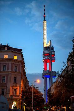 Zizkov Tower Twilight, Prague, Czech Republic Prague Czech Republic, Cn Tower, Cemetery, Twilight, Opera House, Cool Photos, Gallery, Places, Roof Rack