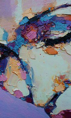 Thomas Donaldson, acrylic {figurative expressionist art female head woman face cropped impasto texture painting detail} thomasdonaldson.biz