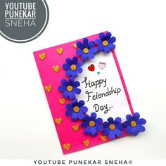 easy and beautiful card for friendship day |  how to make friendship day card easy |  diy friendship day card |  friendship day card making ideas | beautiful handmade friendship day card | friendship day cards for best friend | friendship day special card for best friend | friendship day card ideas | how to make special card for best friend | Punekar Sneha | very easy multipurpose greeting card idea | friendship day greeting card making | diy specially for friendship Friendship Day Cards, Friendship Day Greetings, Friendship Day Special, Friend Friendship, Easy Paper Crafts, Card Ideas, Easy Diy, Card Making, Greeting Cards