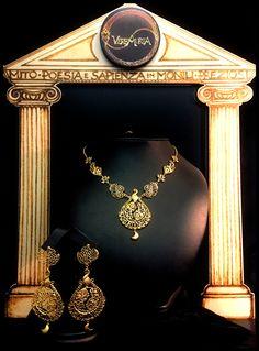 """""""Giuturna"""", Collier e orecchini in oro 18 kt. Handmade, Limited Edition"""