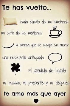 Frases de amor cortas y bonitas The Words, More Than Words, Frases Love, Frases Humor, Love Phrases, Quotes En Espanol, Spanish Quotes, Just Love, Potpourri