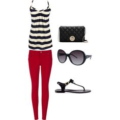 Stripes with color...this could be for Spring too, but red is summer. Good for a cooler summer night.