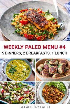 Weekly Paleo Menu (with Printable PDF) Free Paleo Meal Plan - 5 dinners, 2 breakfast and 1 lunch. Includes a printable PDF.Free Paleo Meal Plan - 5 dinners, 2 breakfast and 1 lunch. Includes a printable PDF. Paleo Meal Plan, Ketogenic Diet Meal Plan, Diet Meal Plans, Quick Paleo Meals, Frugal Meals, Freezer Meals, Cena Paleo, Desayuno Paleo, Paleo Dinner