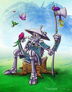 Samurai Tinman Wizard of Oz Cartoon Illustration