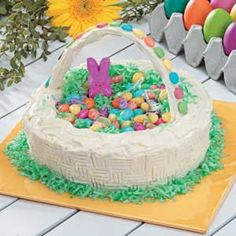 Easter Basket Cake Recipe       For a festive cake all of your guests will be impressed with at your Easter gathering, try this recipe. It is so easy but looks like you fussed