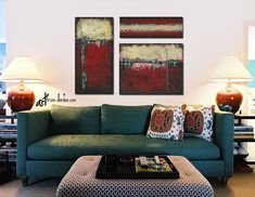 Teal and red wall art, Large 3 piece canvas collection, Southwest bedroom or living room wall decor