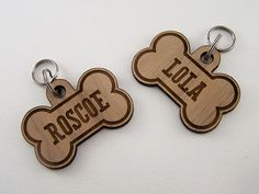 Wooden Pet ID Tags - Custom Dog Bone Collar Charm Laser Cut on Etsy, $15.99