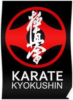 Kyokushin Karate Symbol and Kanji White Text Poster