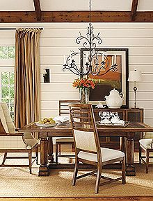 Henredon Spring Lake Dining Room Trestle Table and Dining Chairs Showroom Details Henredon Interior Design Showroom