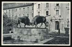 AK Königsberg Ostpreußen kämpfende Auerochsen gelaufen Public sculpture installation of struggling oxen. I'd guess this imagery had a local significance or association beyond the obvious. My Ancestry, East Germany, Prussia, Beautiful Buildings, Moose Art, Castle, Sculpture, Black And White, City