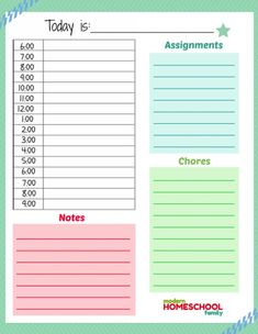Free Printable Homeschool Planner Worksheet for Kids