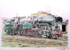 "Kresba: Parní lokomotiva řady 464.2 ""rosnička"" - Blog iDNES.cz Siena, Train, Blog, Blogging, Strollers"
