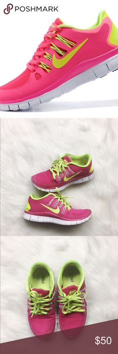 NIKE Free 5.0 Pink & Neon Green Sneakers NIKE Free 5.0 women's sneakers in hot pink & neon green. Super comfy, worn a handful of times and in great condition. Lace up construction. No box. No modeling/trades. Nike Shoes Athletic Shoes