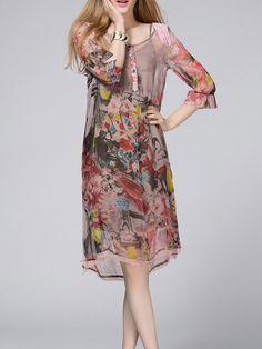 V Neck Half Sleeve Shift Vintage Midi Dress